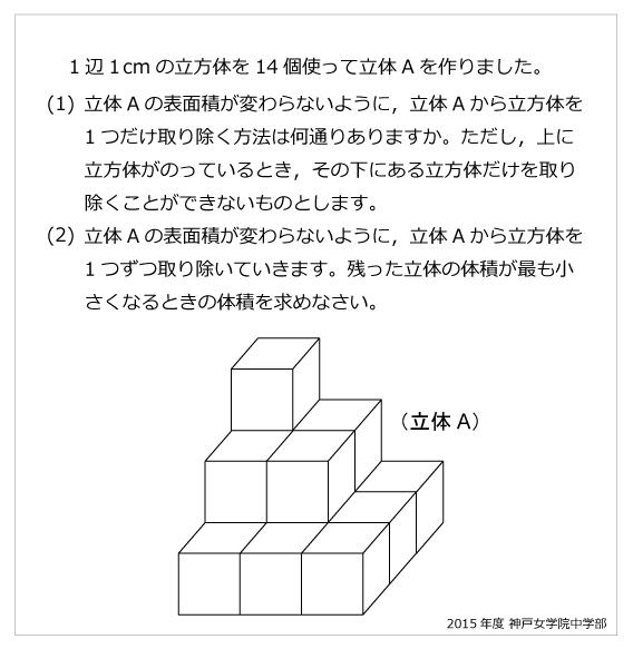 神戸女学院中学部(2015年)立方体の問題