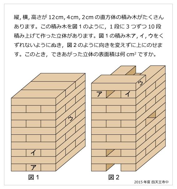 四天王寺中(2015年)積み木の表面積