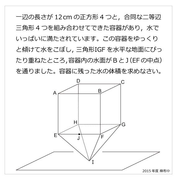 麻布中(2015年)正四角すいの切断