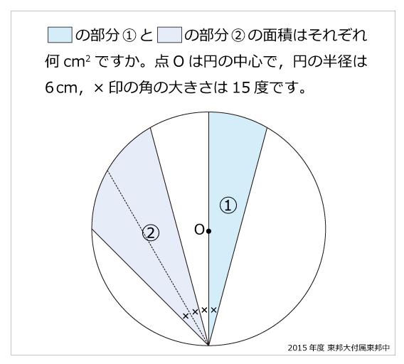 東邦大学付属東邦中(2015年)円とおうぎ形